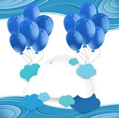 Blue balloons floating in blue sky