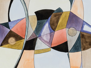 An abstract watercolour painting; Fractured theme