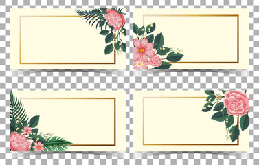 Card template with pink flowers and green leaves