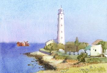 Sunny seascape with coastal lighthouse and sunken ship