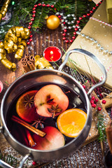 Serving mulled hot warming wine