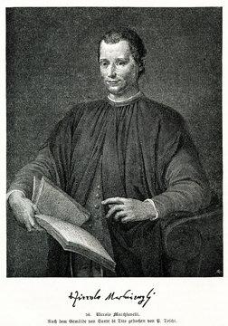 Portrait of Niccolò Machiavelli, italian diplomat, by Santi di Tito (from Spamers Illustrierte Weltgeschichte, 1894, 5[1], 111)
