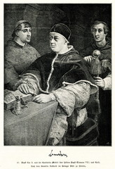 Portrait of Pope Leo X with two Cardinals by Raphael (from Spamers Illustrierte Weltgeschichte, 1894, 5[1], 115)
