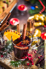 Mulled wine.Red wine with spices, anise and cinnamon.
