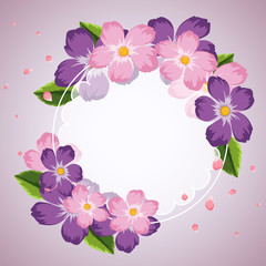 Border template with purple and pink flowers