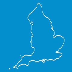White England map outline graphic freehand drawing on blue background, Vector Illustration