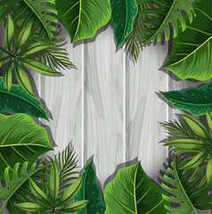 Green leaves on gray wooden board