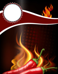 Banner design with hot chili and fire