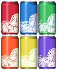 Cans with leaves on different color background