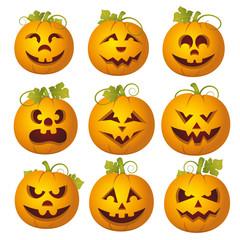 Set of vector pumpkins. Halloween