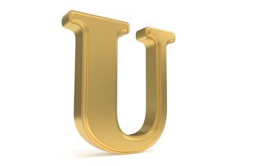 U gold romantic alphabet, 3d rendering