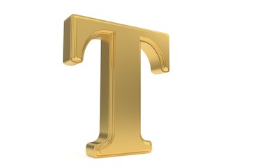 T gold romantic alphabet, 3d rendering