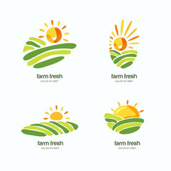 Farm and farming, set of vector logo, label, emblem design template. Isolated illustration of green fields landscape, rising sun. Concept for harvesting, agriculture, natural farm, organic products.