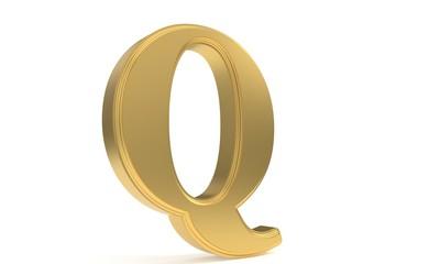 Q gold romantic alphabet, 3d rendering
