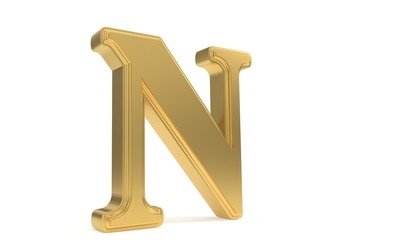 N gold romantic alphabet, 3d rendering