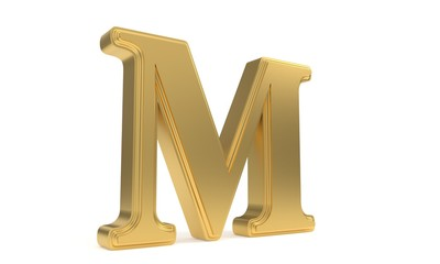 M gold romantic alphabet, 3d rendering