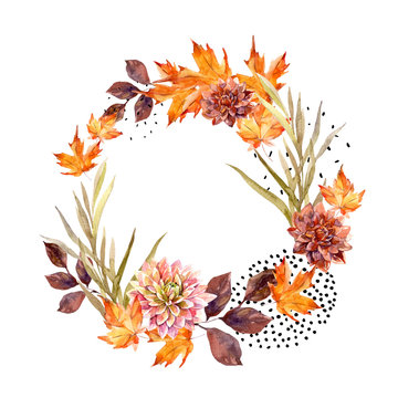 Autumn watercolor wreath on splash background with flowers, leaves, doted circles.