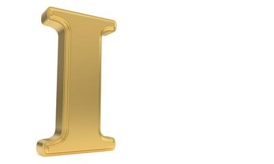 I gold romantic alphabet, 3d rendering