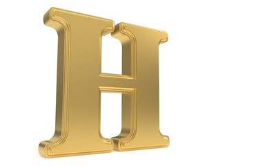 H gold romantic alphabet, 3d rendering