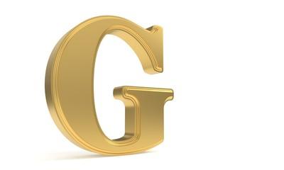 G gold romantic alphabet, 3d rendering