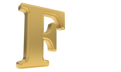F gold romantic alphabet, 3d rendering