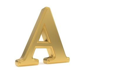 A gold romantic alphabet, 3d rendering