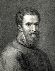 Portrait of Michelangelo, italian sculptor and painter, by Giorgio Vasari (from Spamers Illustrierte Weltgeschichte, 1894, 5[1], 120)