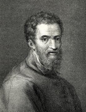 Portrait of Michelangelo, italian sculptor and painter, by Giorgio Vasari (from Spamers Illustrierte Weltgeschichte, 1894, 5[1], 120)