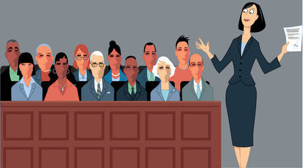 Female attorney address the jury at a trial, EPS 8 vector illustration
