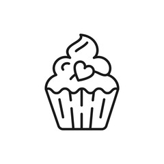 Cupcake Icon, birthday icon. Symbol of holiday and love, valentine's day. Line thin sign, Vector flat illustration