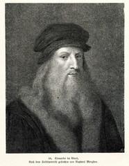 Self portrait of Leonardo da Vinci, Italian Renaissance polymath (from Spamers Illustrierte Weltgeschichte, 1894, 5[1], 124)