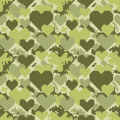 Military Pixelate Seamless Pattern with Heart. Camouflage Background. Camo Fashion Texture. Army Uniform. Vector illustration