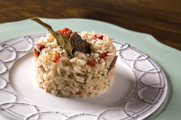 Rice with meat and tomato
