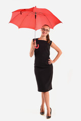 Female model with a red umbrella