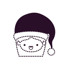santa claus woman kawaii face with mouth open expression with hat on dotted monochrome silhouette