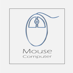 Computer mouse illustration. Hand drawn flat vector icon.