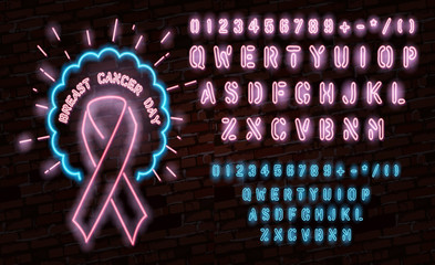 Breast Cancer Awareness Month Emblem, Pink Ribbon Symbol. Neon Lamp Glow Stylization on Black Brick Wall. Template for Banner, Poster, Invitation, Flyer with Inscription.