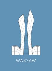 Simple minimalistic illustration of famous skyscraper in Warsaw