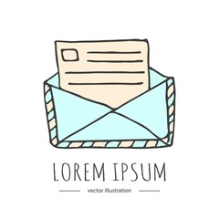 Hand drawn doodle Postal element - envelope icon isolated on white background. Vector illustration. Post symbol. Cartoon mail element: sealed letter, envelope, stamp, post box, package