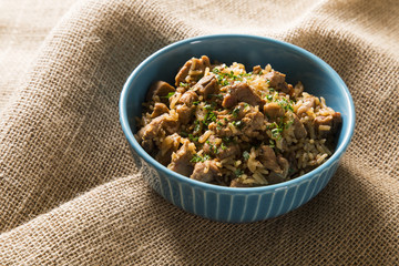 Wheat risotto with meat