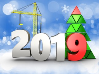 3d 2019 year with crane