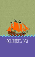 Vector ship with separate editable elements. Design for yacht clubs, shirts, etc.
