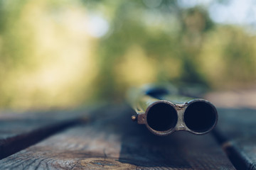 Close up of double barrel of hunting gun
