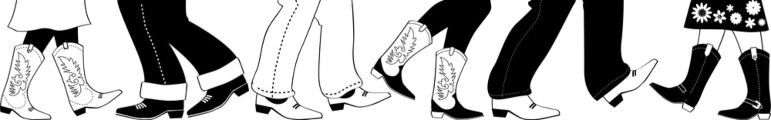 Vector black silhouette with country dancers feet in cowboy boots, no white objects, EPS 8