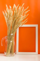 blank frame and wheat crop in jug on orange background. Jewish holiday Shavuot concept. Space for photo, for advertising