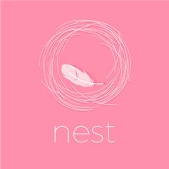 Nest Logo. Soft logo. Comfort emblem. Luxury linen. Bedding logo.  Letters with white feather.