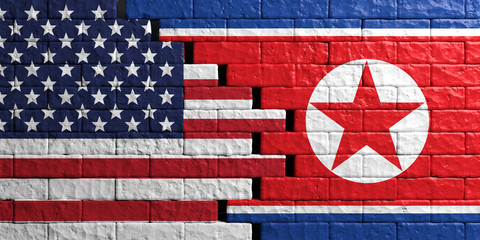 North Korea and USA flag, brick wall background. 3d illustration
