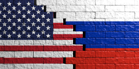 Russia and USA flag, brick wall background. 3d illustration