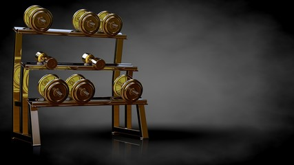 3d rendering of a golden gym equipment on a dark background