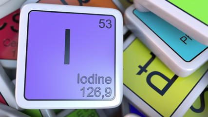 Iodine I block on the pile of periodic table of the chemical elements blocks. Chemistry related 3D rendering